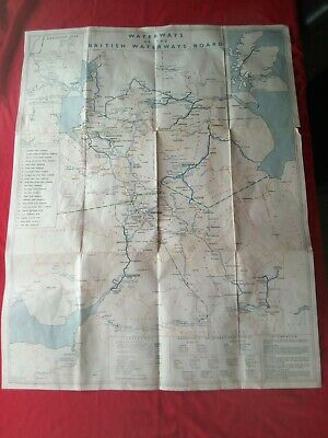 Vintage Map Waerways Of The British Water Board