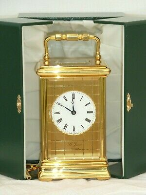 Rare, St. James of London 8 Day Checked Gold Plated Carriage Mantle Clock + Case