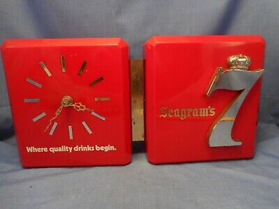 Vintage Seagrams 7 Advertisement  Bar Man Cave Display With New Working Clock