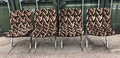 4 x Vintage 1960 / 1970s PIEFF Chrome Modernist Dining Chairs