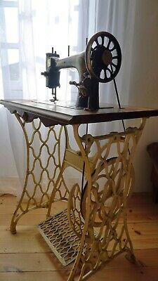 Antique Aigle D'Or French Sewing Machine White Cast Iron Treadle & Wooden Box