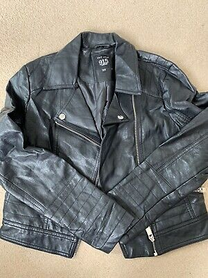 Girls Black Leather Style Jacket Age 12-13 New Look