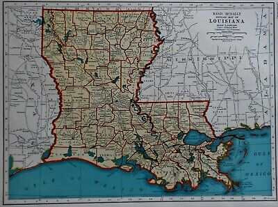 Vintage 1941 World War WWII Atlas Map of Louisiana & Kentucky & Tennessee L@@K!