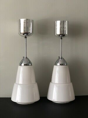 Art Deco Style 1940/50's Chrome And Opalescent Glass Light Fitting x2