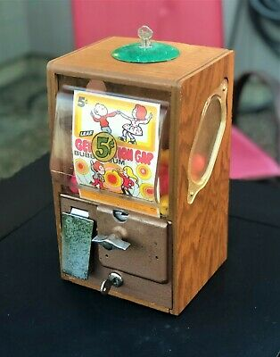 Victor 5 Cent Baby Grand Deluxe Gumball Oak Wood Cabinet Vending Machine