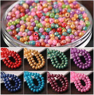 200pcs 4X3mm  Rondelle Gold Silver Foil Coated Glass Loose Spacer Beads
