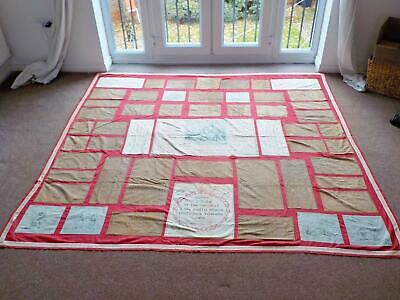 Rare Victorian Patchwork Scripture Bed Cover Quilt c1880 by Robert Mimpriss