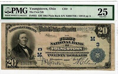 1902 $20 Fr#661 First National Bank Youngstown OH PMG VF-25 Large Size Note 4021