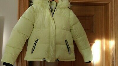 girls puffer jacket yellow with fur lined hood from Next age 12