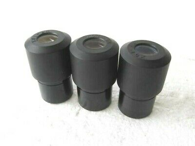 Lot of 3 Matching WF 10x Microscope Eyepiece Lens with Pointer