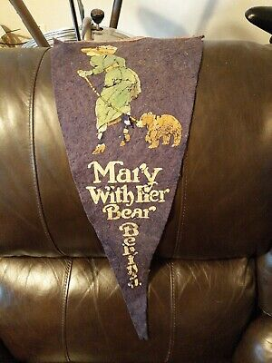 Old Vintage Colored Picture Of Mary With Her Bear Behind Felt Pennant Display