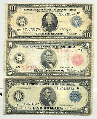$10 and $5 Blue Seal and Red Seal (Fr. 838b) $5 1914  Federal Reserve Notes