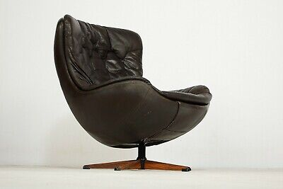 VINTAGE RETRO DANISH H.W.KLEIN (SILHOUETTE) LEATHER SWIVEL CHAIR 1960,s