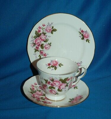 Vintage Queen Anne china pink rose decorated trio, cup, saucer & plate