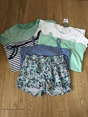 Girls Summer Bundle Vest Strappy Tops Tee Shirt Shorts Age 10 Years Next H&M