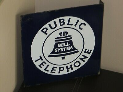 """Vintage Bell System Public Telephone Flanged Porcelain Double Sided Sign 11""""x11"""""""