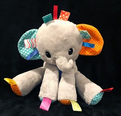Bright Starts Taggies Elephant Gray Plush Rattle Baby Toy