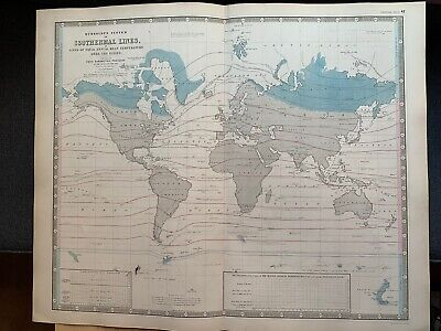 1855 Isothermal World Chart Large Coloured Map From Johnston's National Atlas