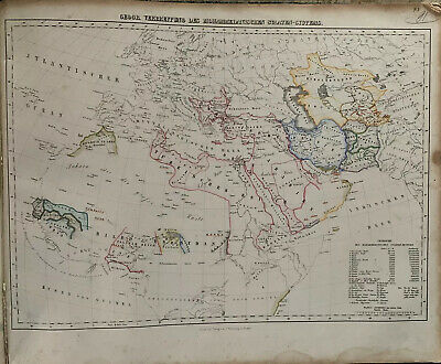 1854 World Chart Showing Muslim Countries  & Empires Hand Coloured Map