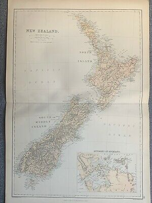 1882 New Zealand Original Antique Colour Map By W.g. Blackie