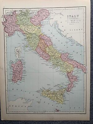 1874 Italy Large Coloured Map By John Bartholomew