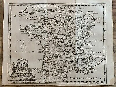 1758 France Original Antique Map By Thomas Jefferys 262 Years Old