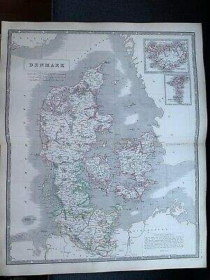 1855 Denmark Large Hand Coloured Map From Johnston's National Atlas
