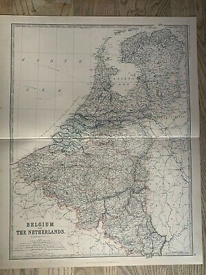 1881 Holland & Belgium Large Hand Coloured Original Antique Map By Johnston
