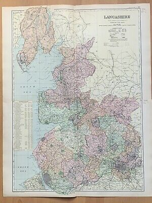 1899 Lancashire Large Antique Map By G.w. Bacon 121 Years Old