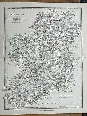 1880 Ireland Hand Coloured Original Antique Map By Johnston