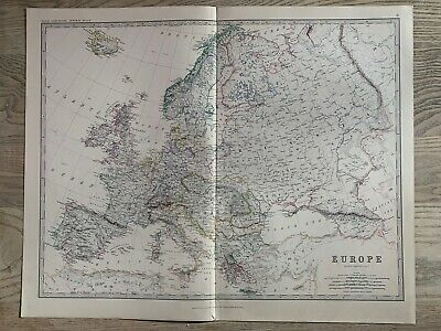 1881 Europe Large Hand Coloured Original Antique Map By Johnston