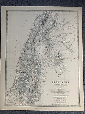 1881 Palestine Large Hand Coloured Original Antique Map By Johnston