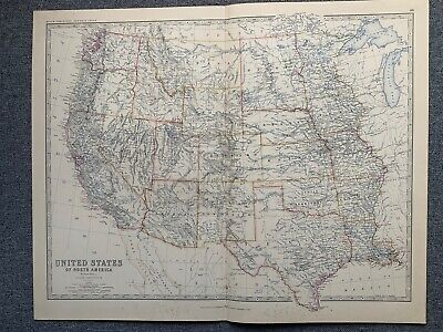 1881 Western United States Large Hand Coloured Original Antique Map By Johnston