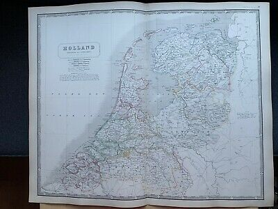 1855 Holland Large Hand Coloured Map From Johnston's National Atlas