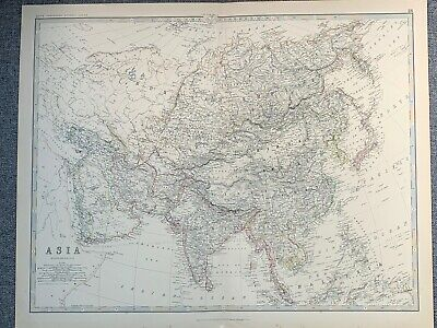 1881 Asia Large Hand Coloured Original Antique Map By Johnston