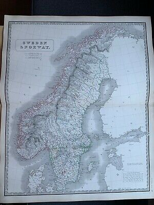 1855 Sweden & Norway Large Hand Coloured Map From Johnston's National Atlas