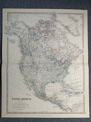 1881 North America Large Hand Coloured Original Antique Map By Johnston