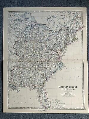 1881 Eastern United States Large Hand Coloured Original Antique Map By Johnston