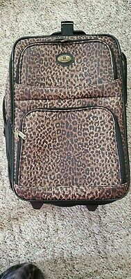 "LEISURE Leopard print LUGGAGE WHEELED ROLLING Suitcase 21"" pull behind"