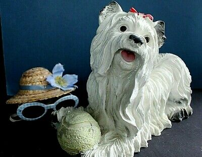 "LGE 14"" x 9"" SMILING MALTESE/ LLASO APSO DOG RESIN STATUE SCULPTURE~RARE IMPORT!"