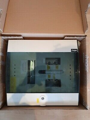 Used Hager 6 way Distribution Board 3 PHASE TRIPLE POLE/ NEUTRAL - GLAZED DOOR