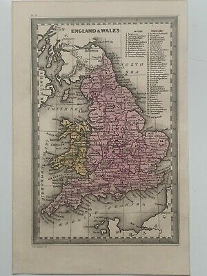 1834 Great Britain & Ireland Hand Coloured Antique Map By Cary & Lea
