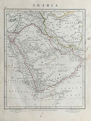 1841 Arabia Hand Coloured Antique Map By Aaron Arrowsmith 179 Years Old