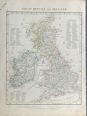 1841 Great Britain & Ireland Hand Coloured Antique Map By Arrowsmith