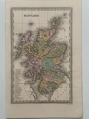 1834 Scotland Hand Coloured Antique Map By Cary & Lea