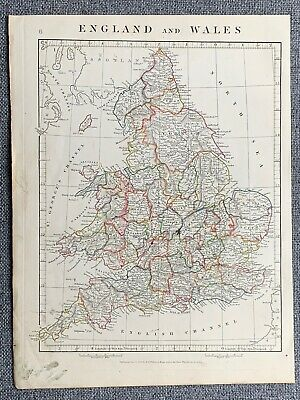 1841 England & Wales Hand Coloured Antique Map By Aaron Arrowsmith