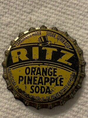 Vintage Ritz Orange Pineapple Soda Bottle Cap Nos Cork Lined St. Louis, Mo.