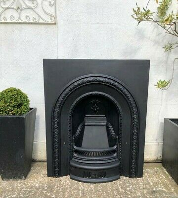 A Beautiful Victorian Cast Iron Arched Insert Fireplace