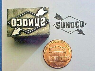 SUNOCO Gas Station Sign Logo Oil Gasoline Co. Est. 1886 Letterpress Printers Cut