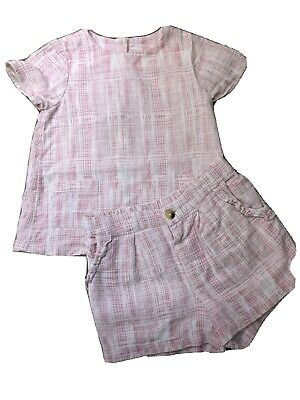 Marks And Spencer 2 Piece Set Pink And White Top And Shorts Age 2-3 Years